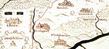 Ausschnitt aus der Gadner-Karte Tübinger Forst von 1592